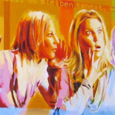 Aussprache als Schlüssel der Kommunikation II, Ausschnitt eines Gemäldes des Künstlers Wolfgang Schaper, Bad Nauheim