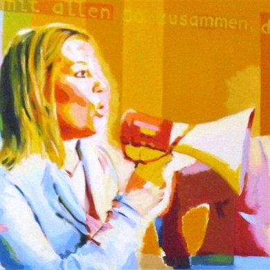 Aussprache als Schlüssel der Kommunikation III, Ausschnitt eines Gemäldes des Künstlers Wolfgang Schaper, Bad Nauheim