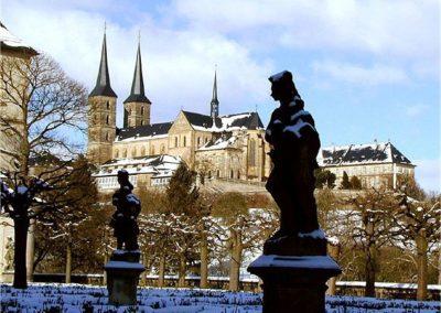 Der Rosengarten in Bamberg im Winter - Blick zum Michelsberg
