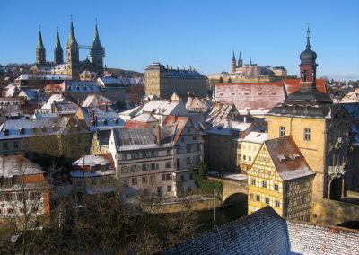 Blick über Bamberg im Winter
