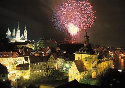 Feuerwerk in der Silvesternacht in Bamberg